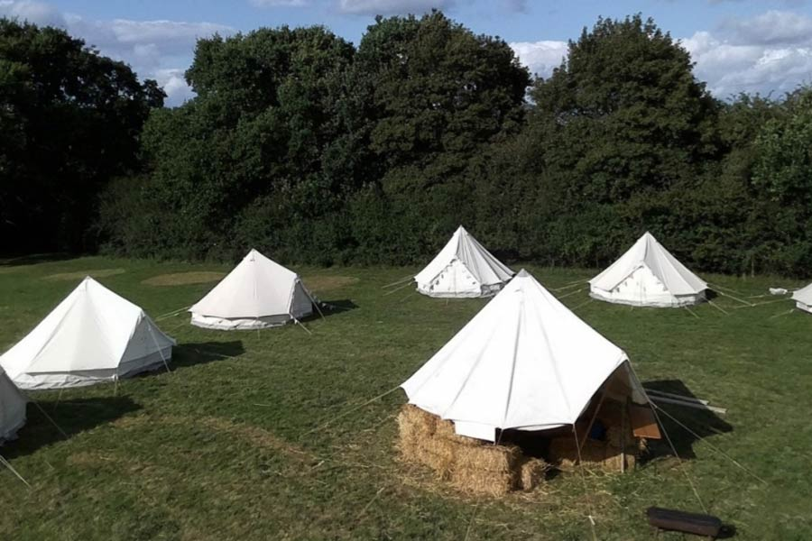 sussex camping with bell tents